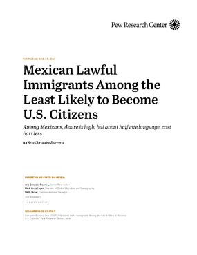 Mexican Lawful Immigrants Among the Least Likely to Become U.S. Citizens