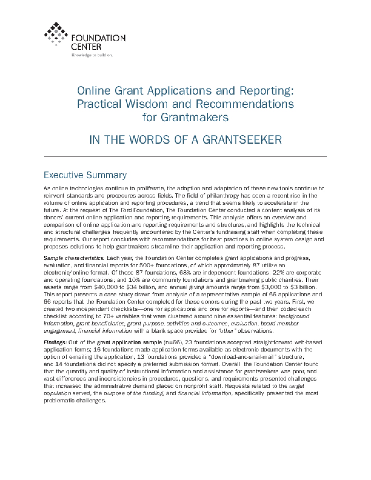 Online Grant Applications and Reporting: Practical Wisdom and Recommendations for Grantmakers in the Words of a Grantseeker