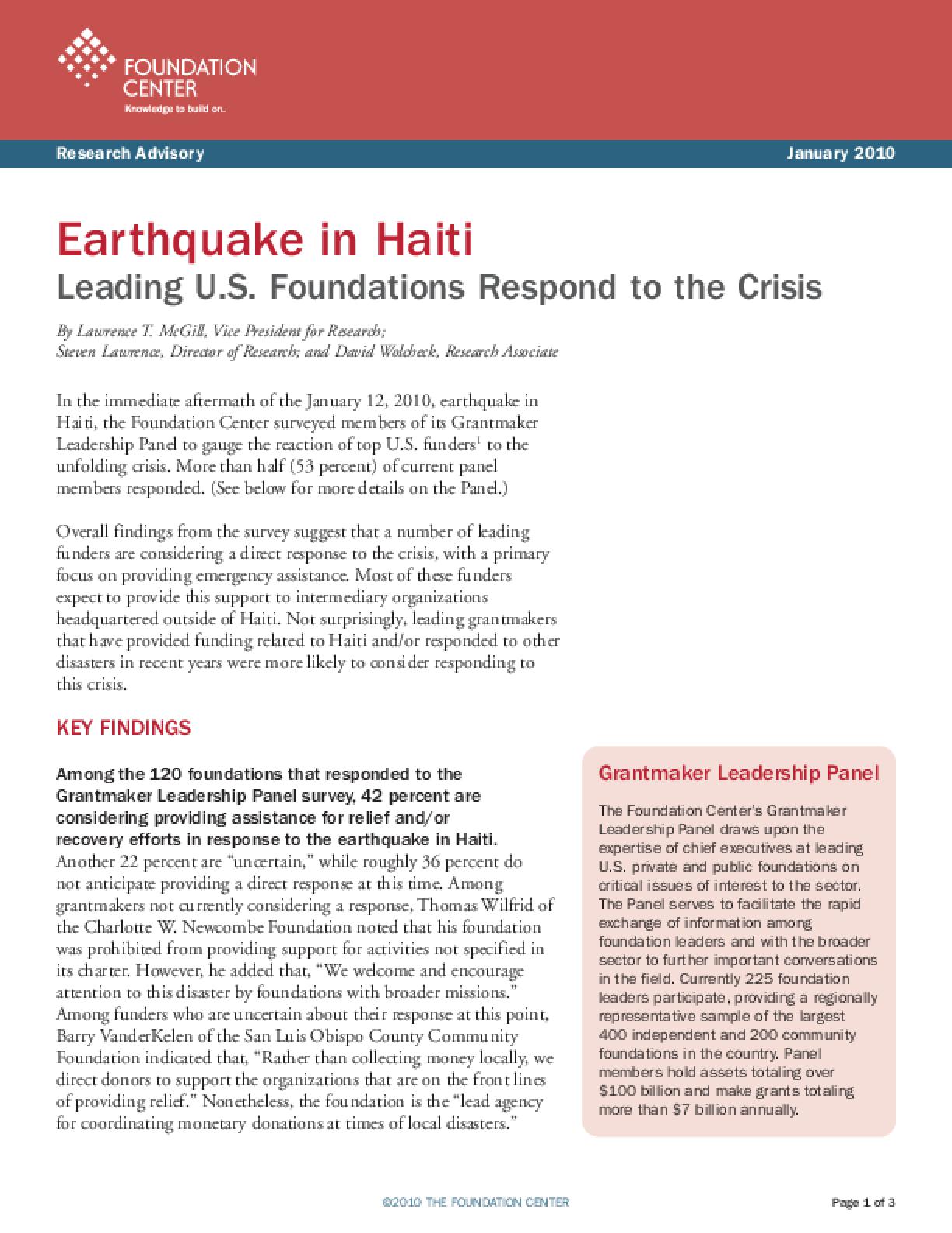 Earthquake in Haiti: Leading U.S. Foundations Respond to the Crisis
