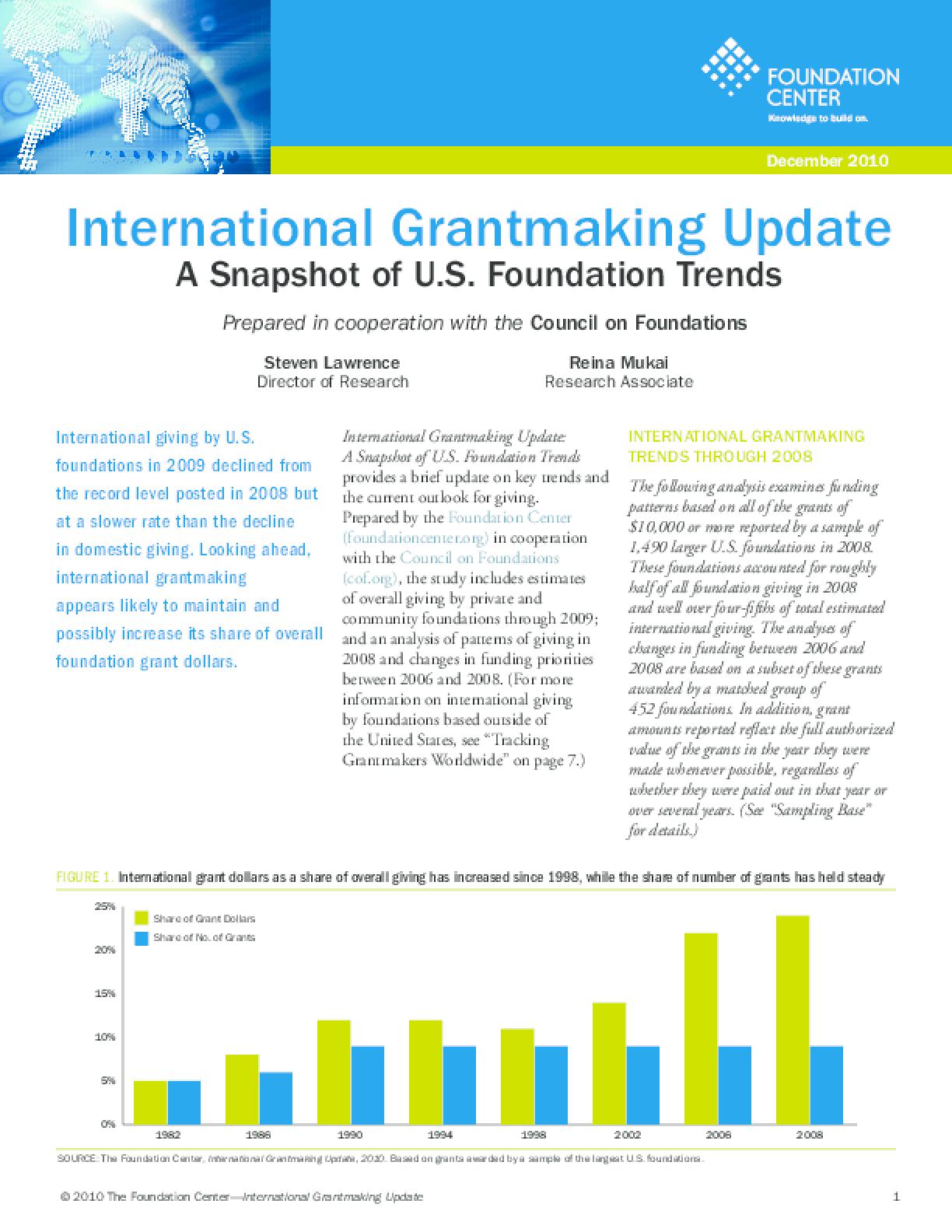 International Grantmaking Update: A Snapshot of U.S. Foundation Trends