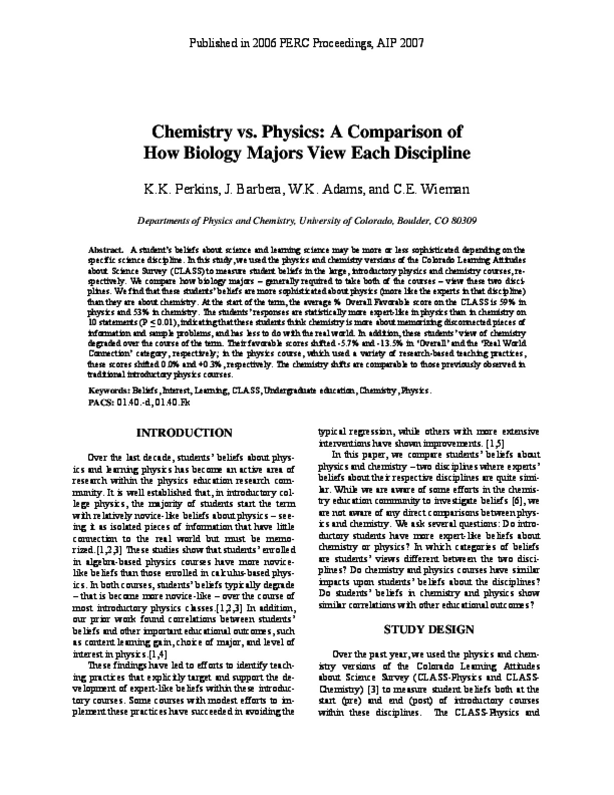 Chemistry vs. Physics: A Comparison of How Biology Majors View Each Discipline