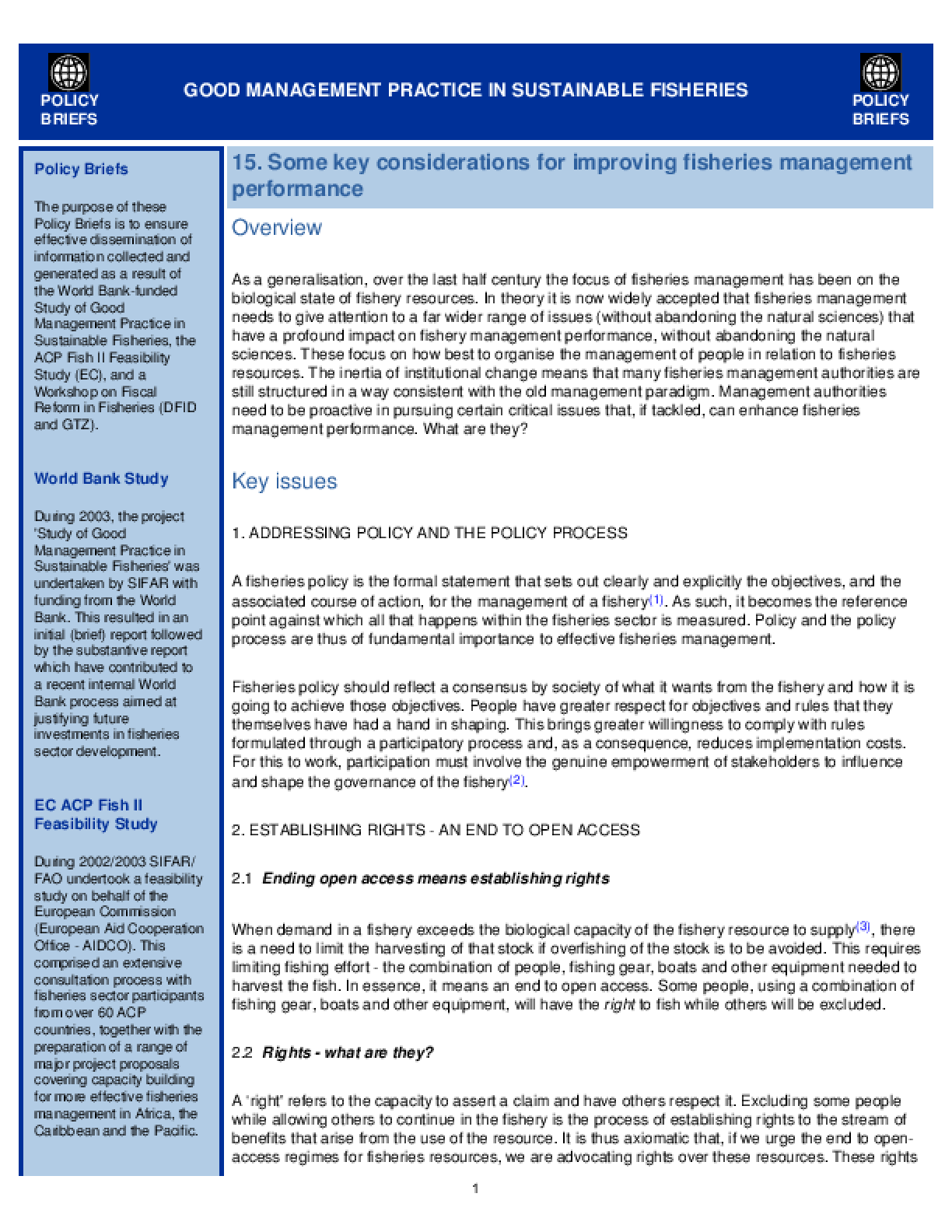 Good Management Practice in Sustainable Fisheries: Some Key Considerations for Improving Fisheries Management Performance