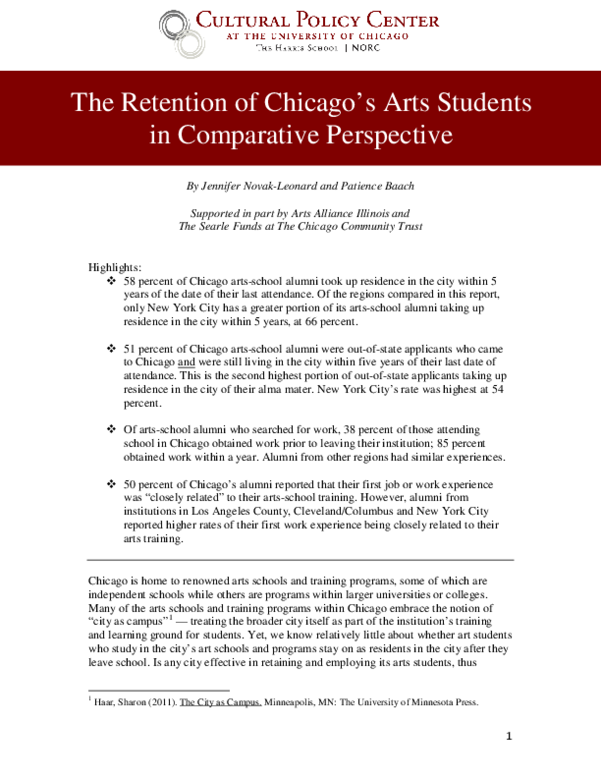 The Retention of Chicago's Arts Students in Comparative Perspective