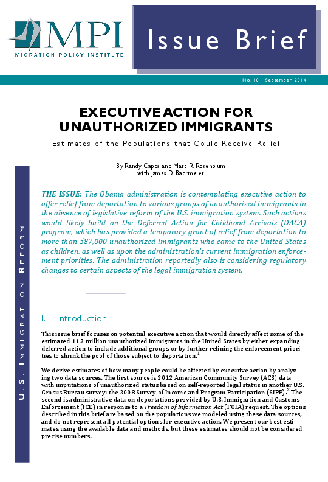 Executive Action for Unauthorized Immigrants: Estimates of the Populations that Could Receive Relief