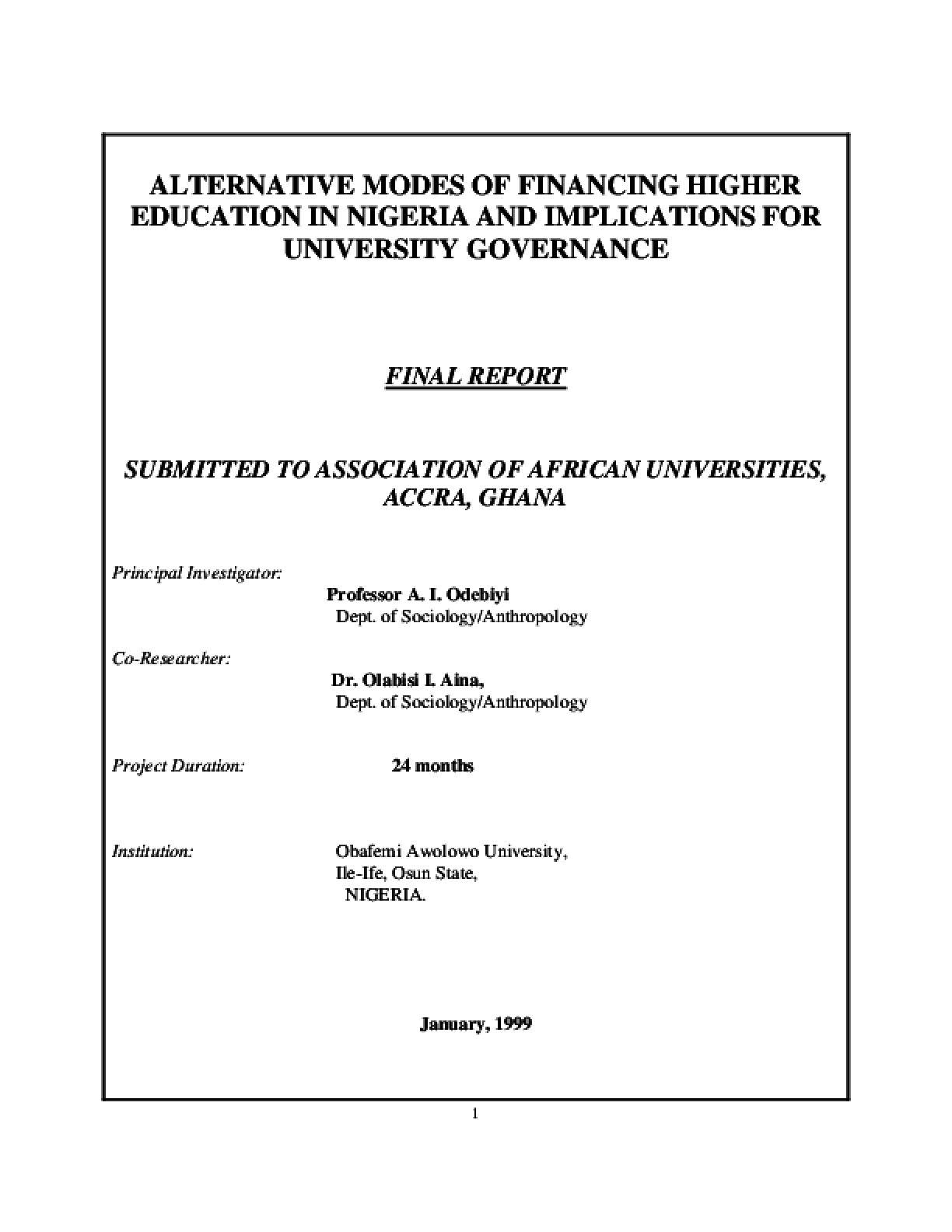 Alternative Modes of Financing Higher Education in Nigeria and the Implications for University Governance