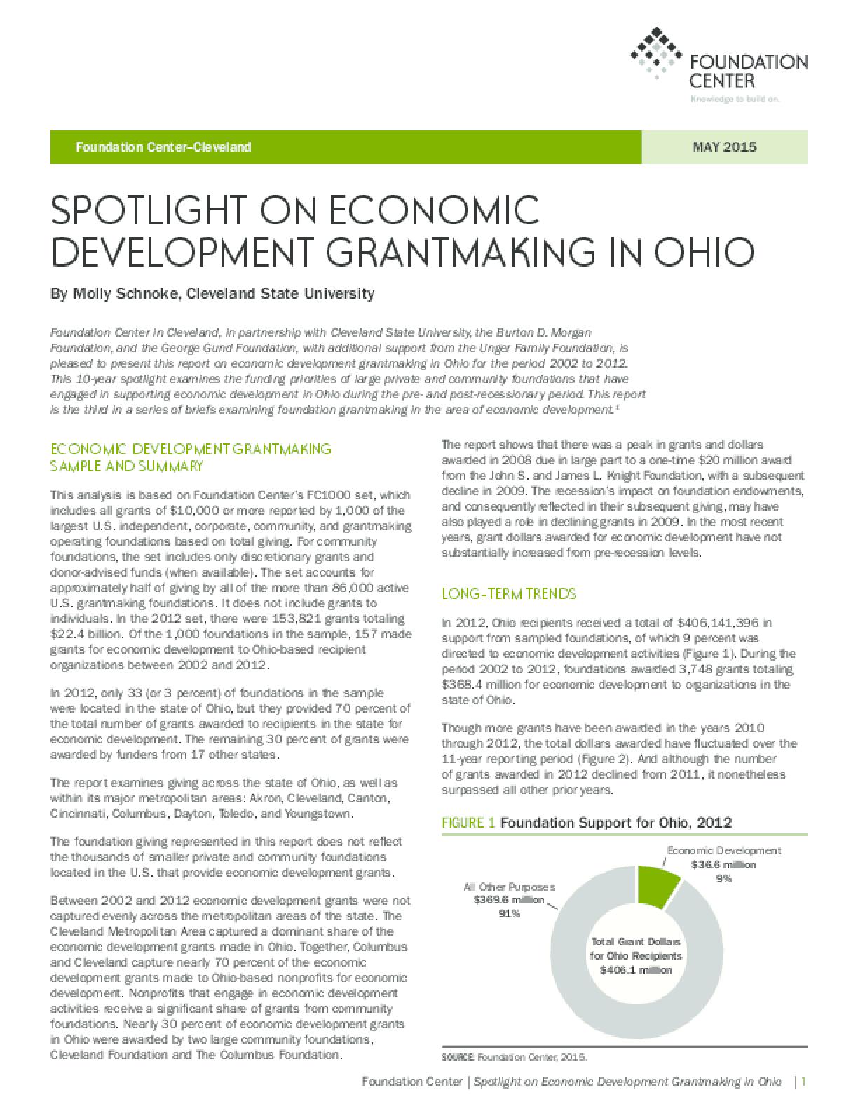 Spotlight on Economic Development Grantmaking in Ohio May 2015