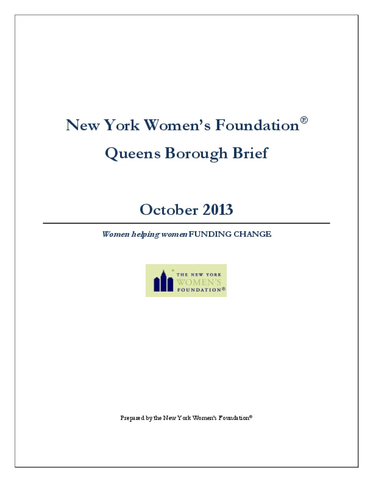 New York Women's Foundation Queens Borough Brief