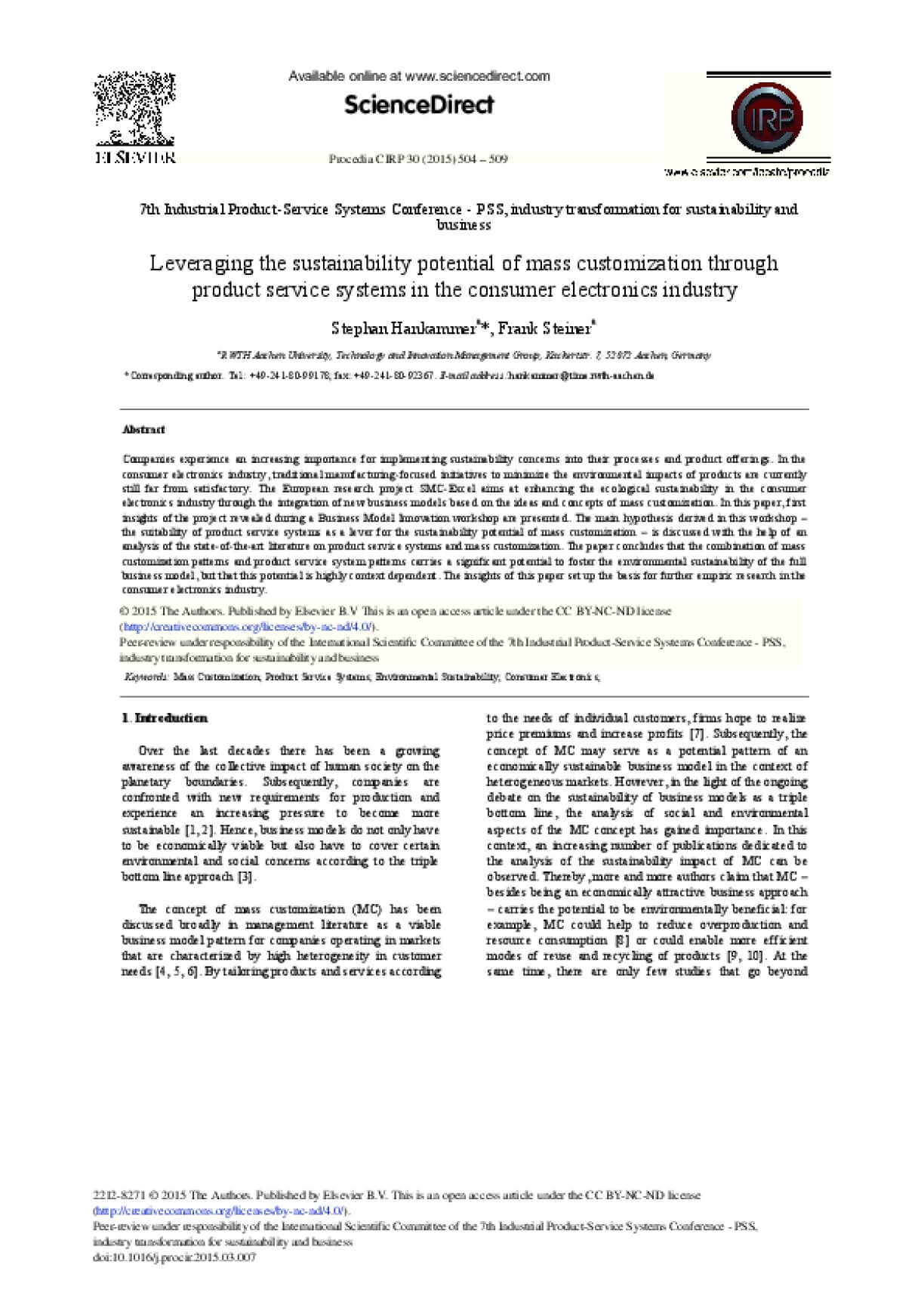 Leveraging the Sustainability Potential of Mass Customization Through Product Service Systems in the Consumer Electronics Industry