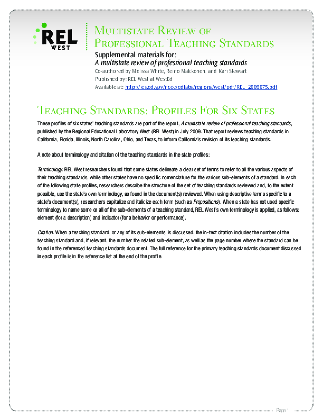 Teaching Standards: Profiles For Six States