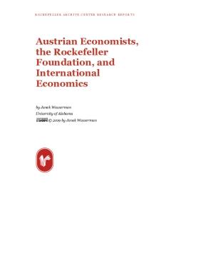 Austrian Economists, the Rockefeller Foundation, and International Economics