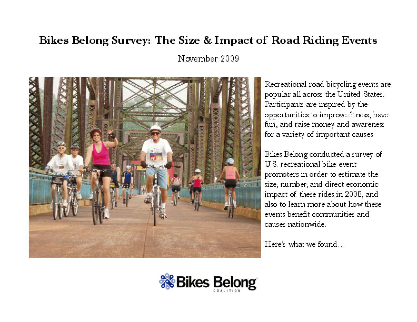 Bikes Belong Survey: The Size and Impact of Road Riding Events
