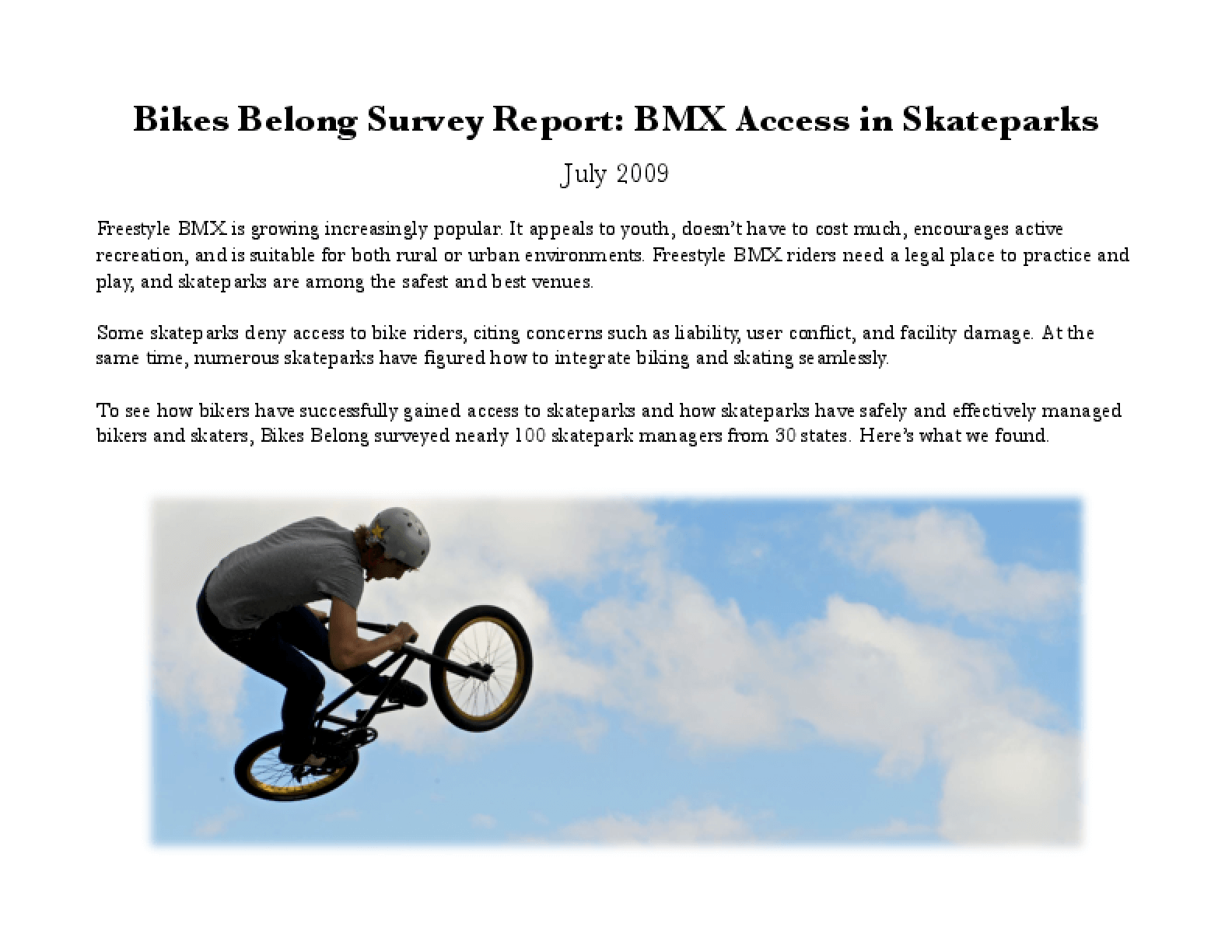 BMX Access in Skateparks Survey