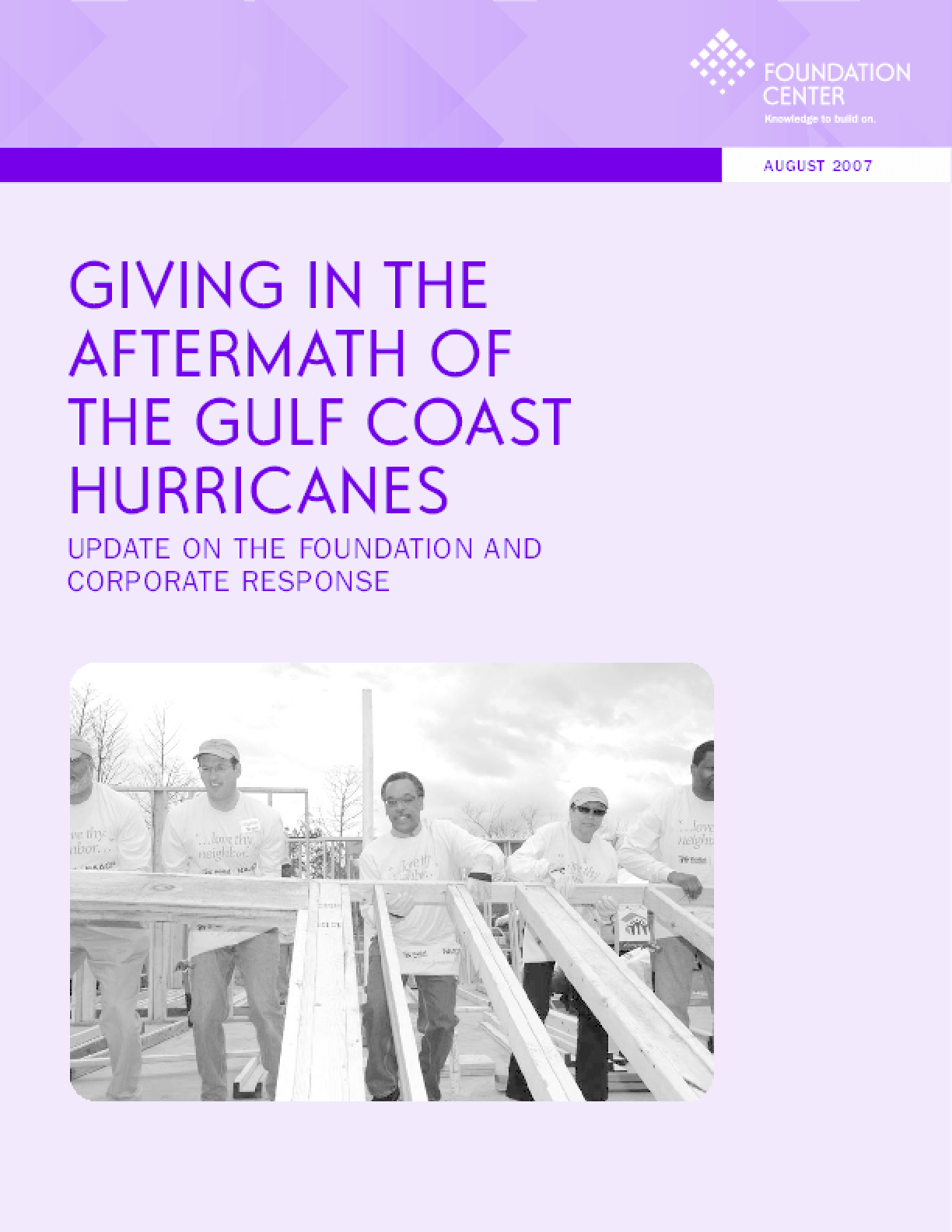 Giving in the Aftermath of the Gulf Coast Hurricanes: Update on the Foundation and Corporate Response