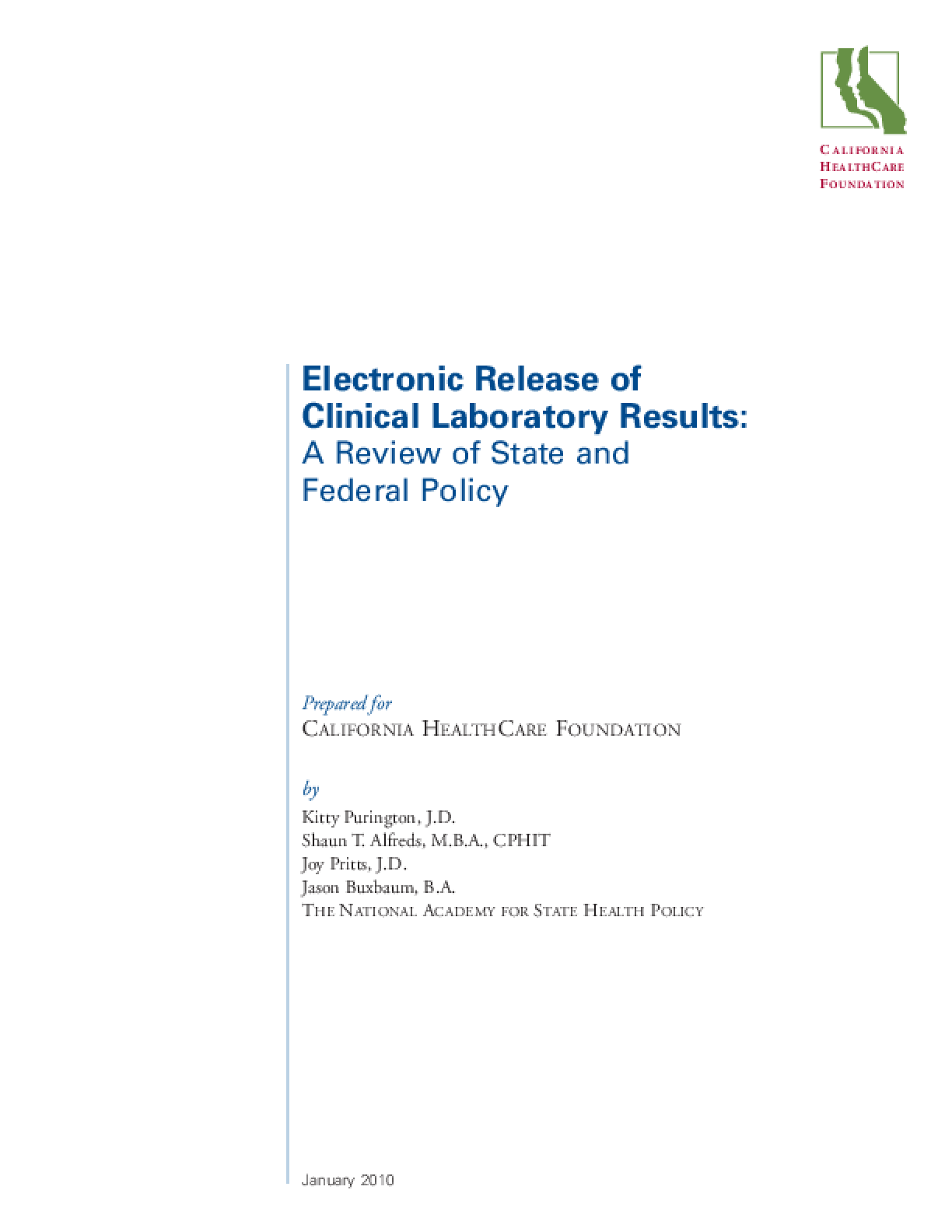 Electronic Release of Clinical Laboratory Results: A Review of State and Federal Policy
